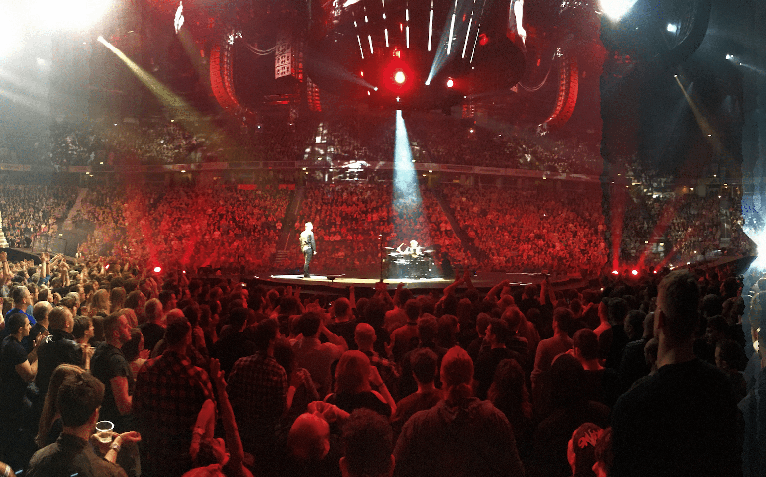 Muse performing at Manchester Arena for their Drones World Tour on 9 April 2016.