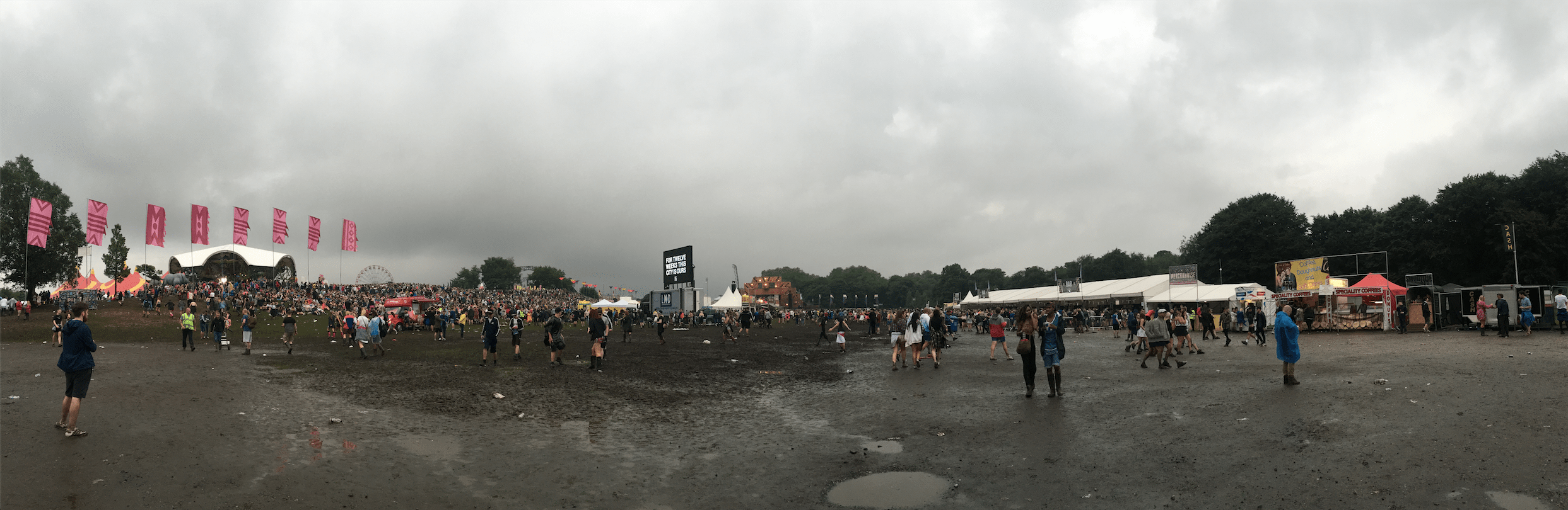 Manchester's classic gloomy weather during Parklife 2016 at Heaton Park.